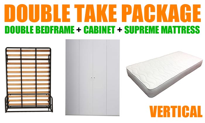 Double Take, Double Wall Bed Frame + Cabinet + Luxury Mattress, Vertical Format