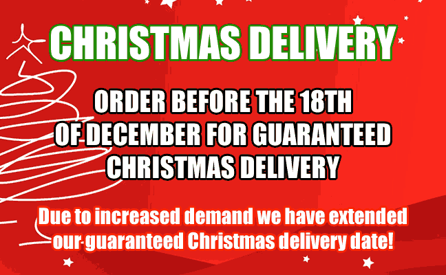 Christmas Delivery, order before the 18th of December for guaranteed Christmas delivery, Due to increased demand we have extended our guaranteed Christmas delivery date!